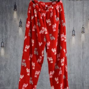 Pink Cat pants red pajama bottoms large cat lover